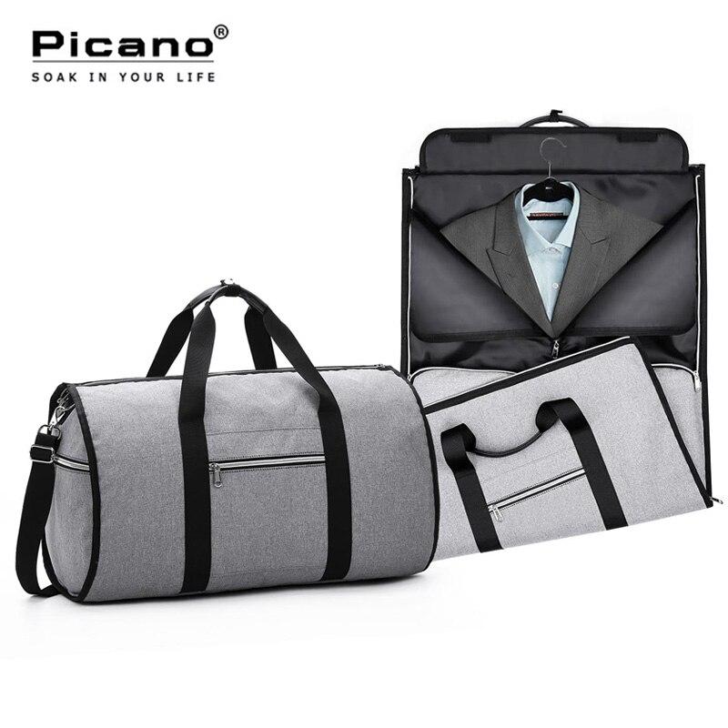 Sac de vêtement de voyage 2 en 1 hommes Sac de week-end valise costume organisateur d'affaires Sac de voyage pliable Sac de voyage Sac de voyage PCN062