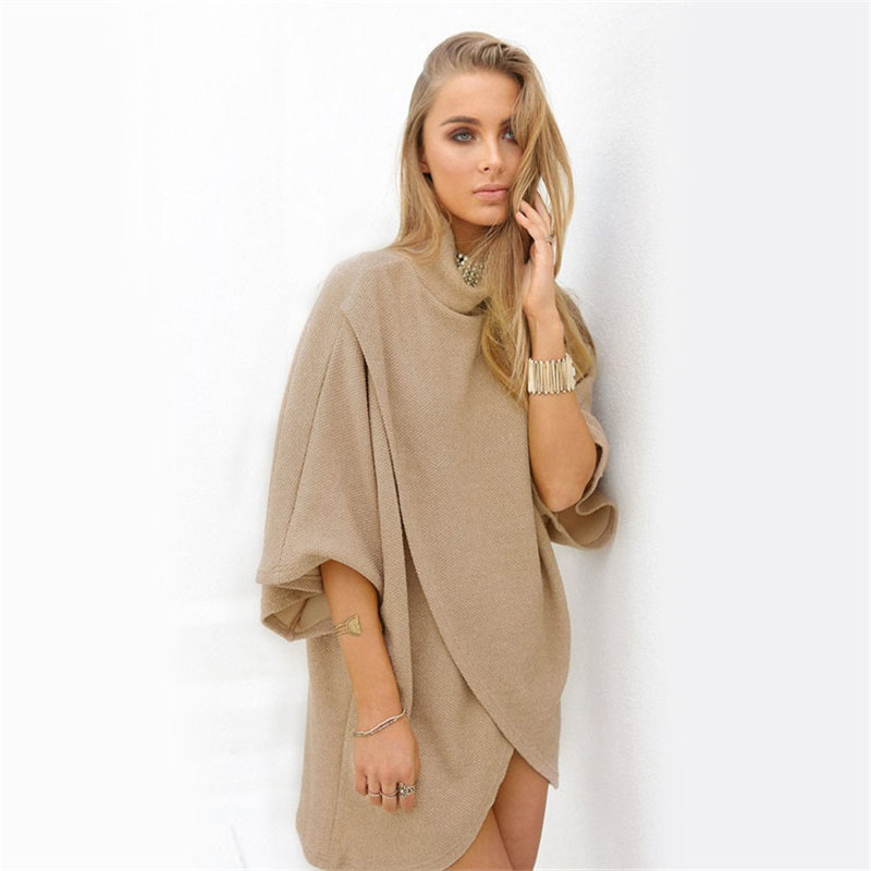 Women s Fashion autumn and winter high collar split sleeve cotton dress vestido youth feasts charm