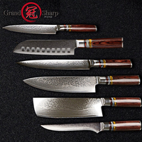Grandsharp 6 Pcs Chef Knife Set Professional Chef's knives VG10 Japanese Damascus Steel Best Family Gift Japanese Damascus Knife