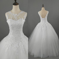 9036 2016 Lace White Ivory Gown Wedding Dresses For Bride Plus Size Maxi Customer Made Size