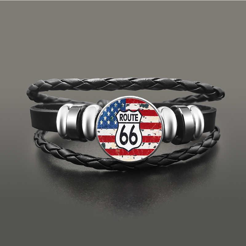 Klasyczne Route 66 bransoletka biżuteria Punk skórzana szklana kopuła Cabochon przycisk Snap bransoletki dla kobiet mężczyzn
