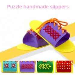 Нетканые Тапочки DIY тапочки для детей научиться галстук Обувь Детский сад научить Tie Rope инструменты нетканые чувствовал Ремесла игрушки