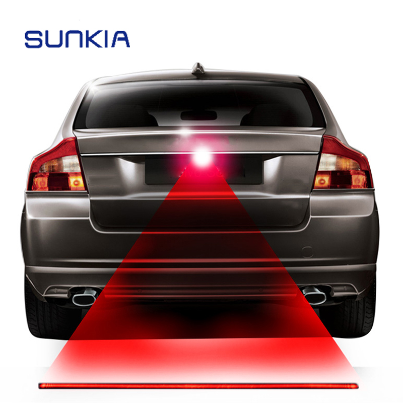 SUNKIA Red Line Anti Collision Rear-end Laser Tail Fog Light Car Brake Parking Lamp Rearing Warning Light Auto Styling цена