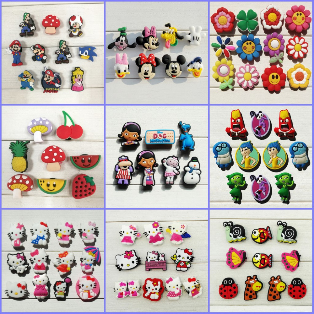 6-10pcs Mickey Monster Crystal shoe accessories shoe charms shoe decoration fit bands croc Jibz Party kids gift