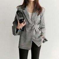 Women Plaid Blazers and Jackets Suit Femme Long Sleeve Work Wear Blazer with Belt Female Jacket Outerwear Blazer Feminino 2018