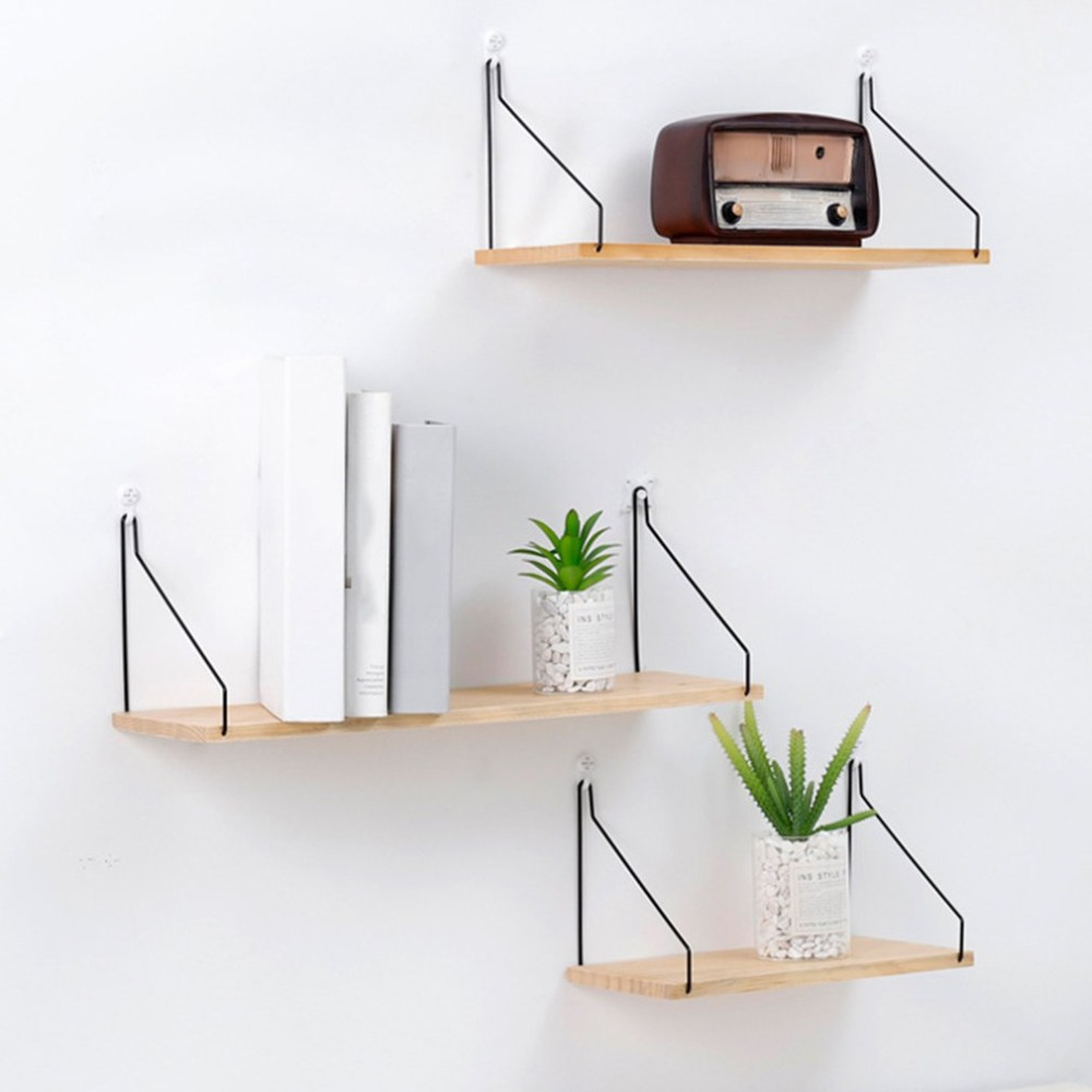 Geometric Shape Wooden Wall Shelf Wall Mounted Storage Rack Organization For Bedroom Kitchen Home Decor Kid Room Decoration