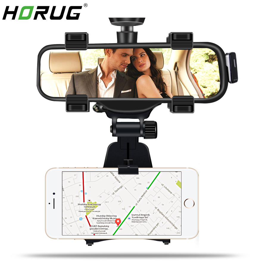 HORUG Rearview Mirror Mount Car Phone Holder For Phone In Car Holder Stand GPS Smartphone Mount Mobile Car Phone Holders