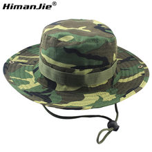 0bc40815e5afb 2016 new arrvial Hot Sale Summer Men Military Camo Bucket Hat with Strings  Travel Sniper Wide Brim Boonie Hat