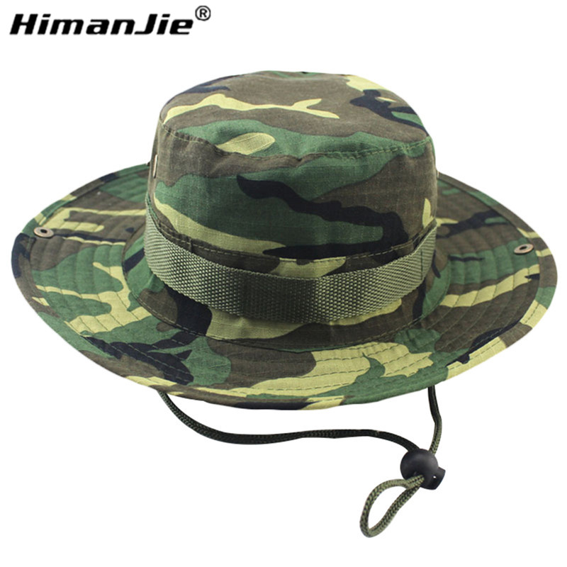 7cfa488df6f 2016 new arrvial Hot Sale Summer Men Military Camo Bucket Hat with Strings  Travel Sniper Wide