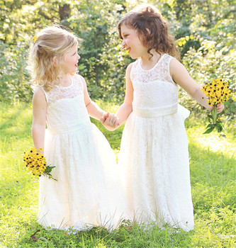 Soft Full Lace Flower Girl Dress For Wedding First Communion Gowns with Kwyhole Bow Back Jewel Neck Sleeveless Custom Made Longo