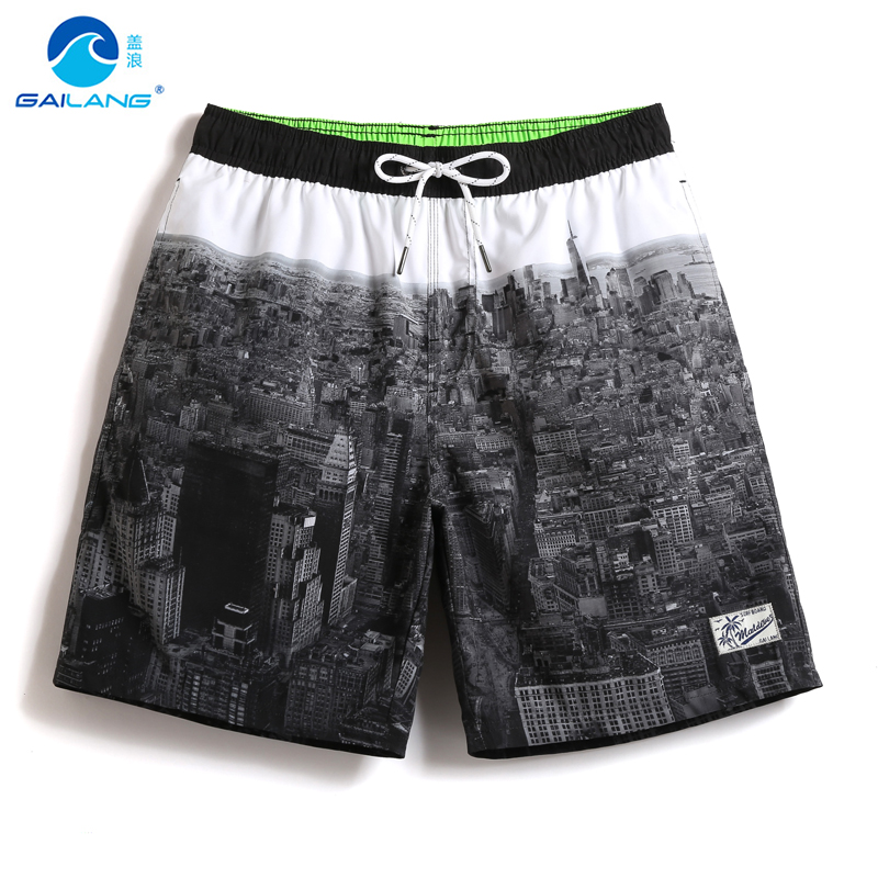 Mens   board     shorts   sweat liner Cityscape swimwear men beach   shorts   swimming trunks swimsuits waterproof joggers mesh running