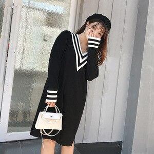 Image 5 - Uug Plus Size Nữ Thẳng Rời Cổ V Thu Đông Tay Dài Đầm Dệt Kim Vestidos XXXL XXL Áo