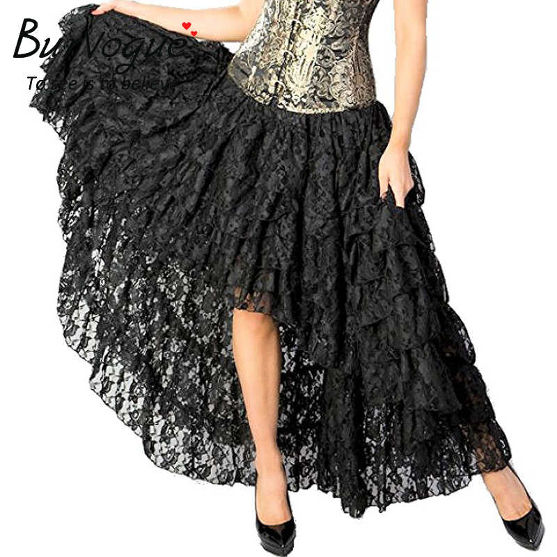 Burvogue Women New Arrival Steampunk Skirt Fashion Long Maxi Skirts Black Lace Gothic Steampunk Elastic Corset Skirts