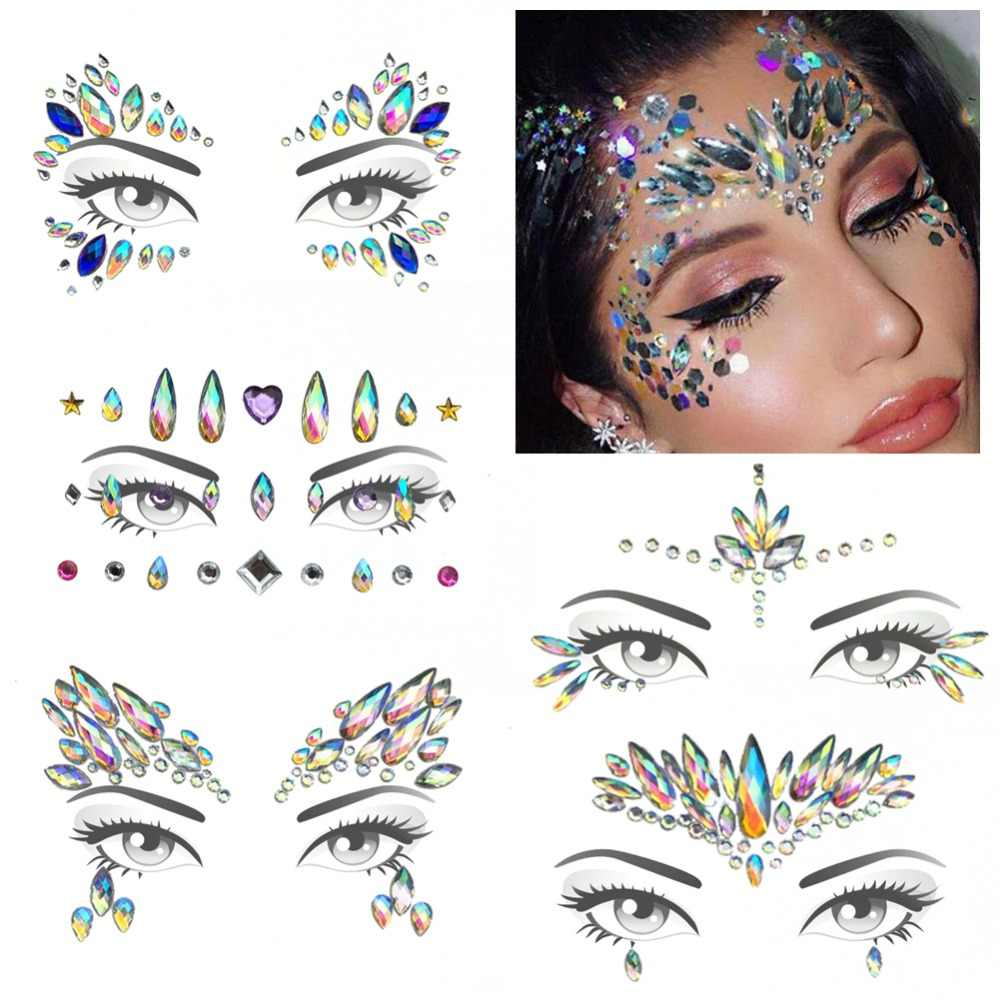 Music Festival Face Sticker Eco-Friendly Resin Rhinestone Tattoo Stickers  Face Jewels Holiday Party Dance f984a8257186