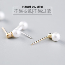 Newest Style Free Shipping Fashion Sterling Silver 925 Stud Earrings Lamp Pearl Earrings Jewelry Pendientes Brincos
