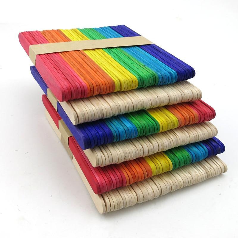 500pcs Colorful Wooden Ice Cream Stick Popsicle Stick DIY kids handmade making Crafts kids gift