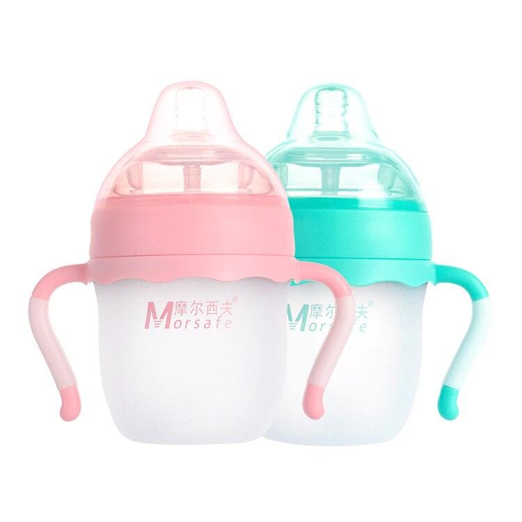 Flaschenzuführung Flaschen Ernst Morsafe Baby Babyflasche Sicher Silikon Infant Saft Milch Wasser Fütterung Flasche Tasse 2 Größen Mit Griff Für Babypflege