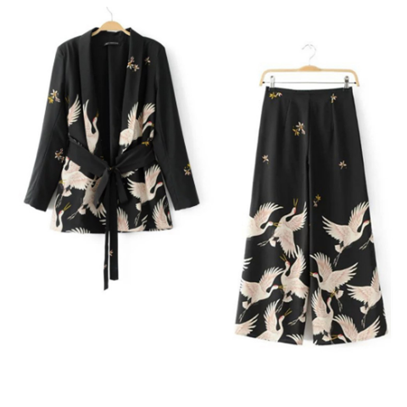 2019 New Women Palazzo Vintage Clothing Sets Crane Printed Blazer Wide Leg Retro Pant Female Bird Printed Outfit Pant Suits