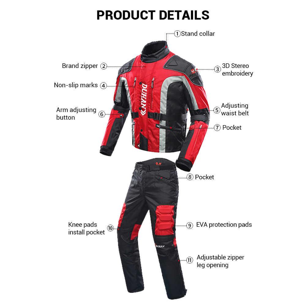DUHAN/осенне-зимняя куртка для мотоцикла с защитой от холода, мото + защитные штаны, мото костюм, одежда для путешествий, комплект защитной экипировки