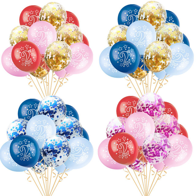 15pcs Baby 2nd Birthday Latex Balloons Confetti Inflatable Air For Boy Girl 2 Years Old Happy Party Decor