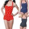 2015 Hot Sale Plus Size One Piece Swimwear Women Sexy Polka Dot Swimsuit Halter Bandage Push