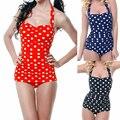 One Piece Swimwear Women 2016 Hot Sale Plus Size Sexy Polka Dot Swimsuit Halter Bandage Push Up Monokini Retro Swim Bathing Suit