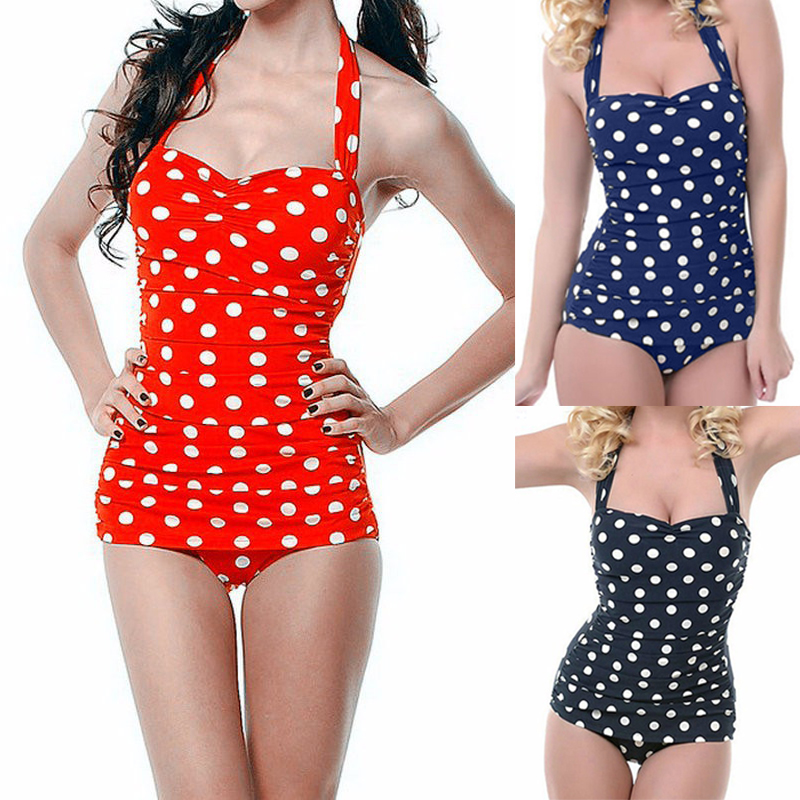 One Piece Swimwear Women 2017 Hot Sale Plus Size Sexy Polka Dot Swimsuit Halter Bandage Push Up Monokini Retro Swim Bathing Suit plus size polka dot cold shoulder top