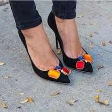 Fashion Black Satin Women Pointy Toe Pumps Mixed Colors Rhinstone Ladies Sexy High Heels Elegant Wedding Shoes 2018 Party Shoes цены онлайн