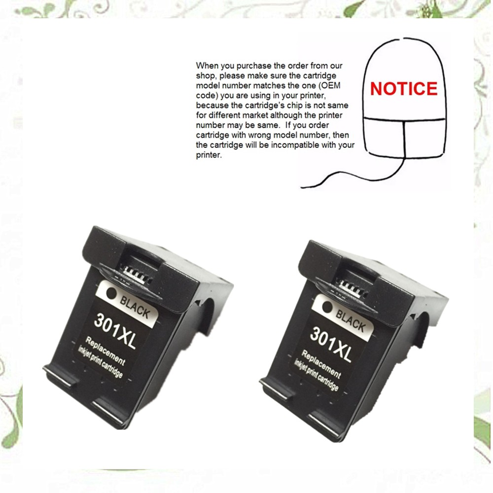 YOTAT 2pcs Remanufactured ink cartridge For HP301 HP 301XL for HP DeskJet 1050 2050 2050s 2510 3050a 3510 D1010 1510 2540 4500