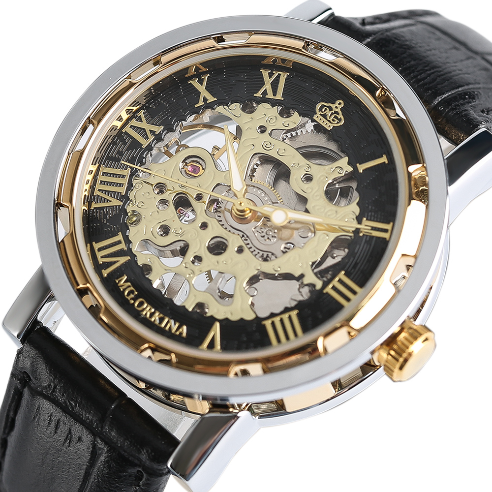 MG. ORKINA Mechanical Hand Winding Men Women Wrist Watch Luxury Skeleton Dress Watches Genuine Leather Strap Wristwatch for Men orkina luxury brand men skeleton mechanical wrist watch leather strap male semi automatic watches christmas gift for men box