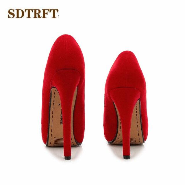 SDTRFT zapatos mujer Spring/Autumn 2018 Fashion Stilettos 11/14cm Thin High-Heeled party Flock shoes woman crossdresser pumps 5
