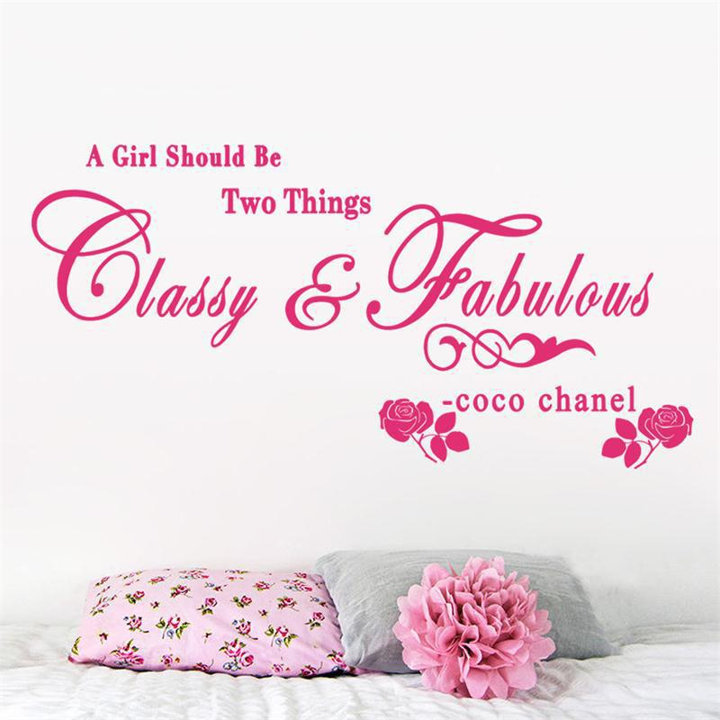 8380 1.5 A girl should be Classy and Fabulous quote wall stickers Rose vinyl home decoration wall sticker adesivo de parede .hom