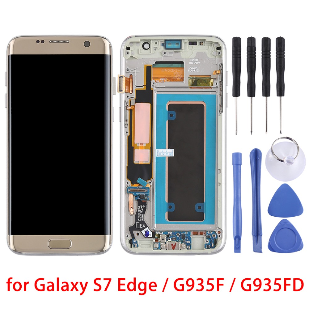 5 5 for Galaxy S7 Edge G935F G935FD LCD Screen Digitizer Full Assembly WITH FRAME Display