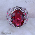 Jubilant Red imitation Ruby Rings Exquisite 925 Stamp Silver Plated Rings for Women Wedding Jewelry J0320