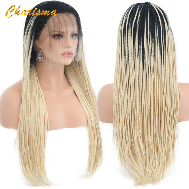Karizma Sentetik ombre saç Dantel Peruk Yüksek Sıcaklık Fiber Saç Uzun Kahverengi Twists Kutusu Örgüler Dantel ön peruk Kadınlar için