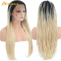 Charisma Synthetic Ombre Hair Lace Wig High Temperature Fiber Hair Long Brown Twists Box Braids Lace Front Wig for Women