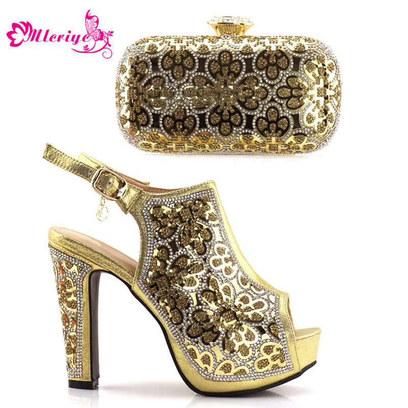 golden Italian Ladies Shoes and Bags To Match Set Italian Matching Shoe and Bag Set for Wedding Nigerian Party Shoes and Bag italian gold color italian ladies shoes and bags to match set nigerian shoes and matching bag african wedding shoes and bag set