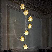 Mizu 7 Light Pendant by Nicolas Terzani from Terzani Suspension Lamp Chandelier Gold/ Transparent Lighting Fixture Dining Room