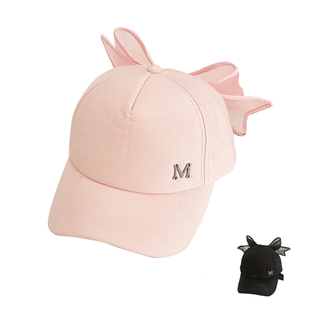 Bow Girls Baseball Cap Fashion Mother Daughter Sun Cap Solid Bowknot Hat  For Girls Wide Brim 9ee41407cff