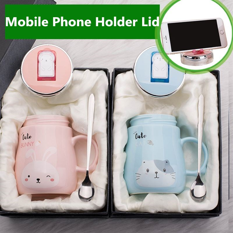 Hot Sale Mobile Phone Holder Animal Ceramics Mugs Coffee Milk Tea Cup Cute Cat Dog Bear Rabbit Mug Couple Drinkware For Children mobile phone