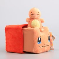 Anime 2 Pcs Set Poke Charmander Storage Box 12 Cm Charmander Mini Plush Toy Stuffed Dolls