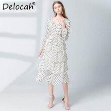 cafdadb8406 Delocah Frauen Frühling Sommer Kleid Runway Fashion Designer Langarm  Einfache Schärpen Dot Gedruckt Moderne Elegante Cupcake Kle.