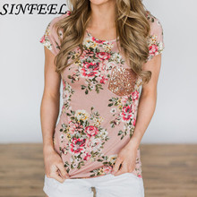 SINFEEL Summer Floral Print Sequined Pocket Top Retro Style Short Sleeve Round Collar Tshirt Plus Size Women Casual Tee Shirts