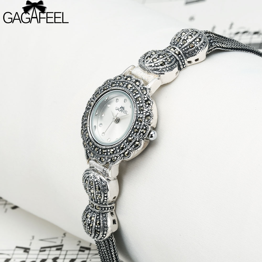 GAGAFEEL 925 Sterling Silver Women's Watch Clock Dress Wristwatch Genva Quartz Watches Hour for Ladies Female стоимость