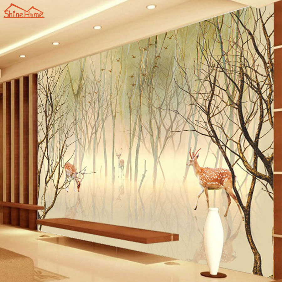 Fog Forest Sika Deers 3D Cartoon Natural Animal Tree 3d Photo Wallpaper for Walls 3d Floring Mural Rolls Livingroom Decor Decal shinehome black white cartoon car frames photo wallpaper 3d for kids room roll livingroom background murals rolls wall paper