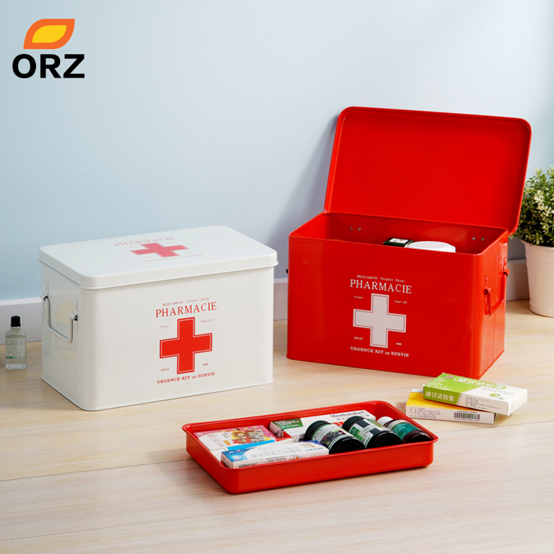 US $39 99 |ORZ Multi layered Family Medicine Metal Medical Box Medical  First Aid Storage Box Storage Medical Gathering-in Storage Boxes & Bins  from