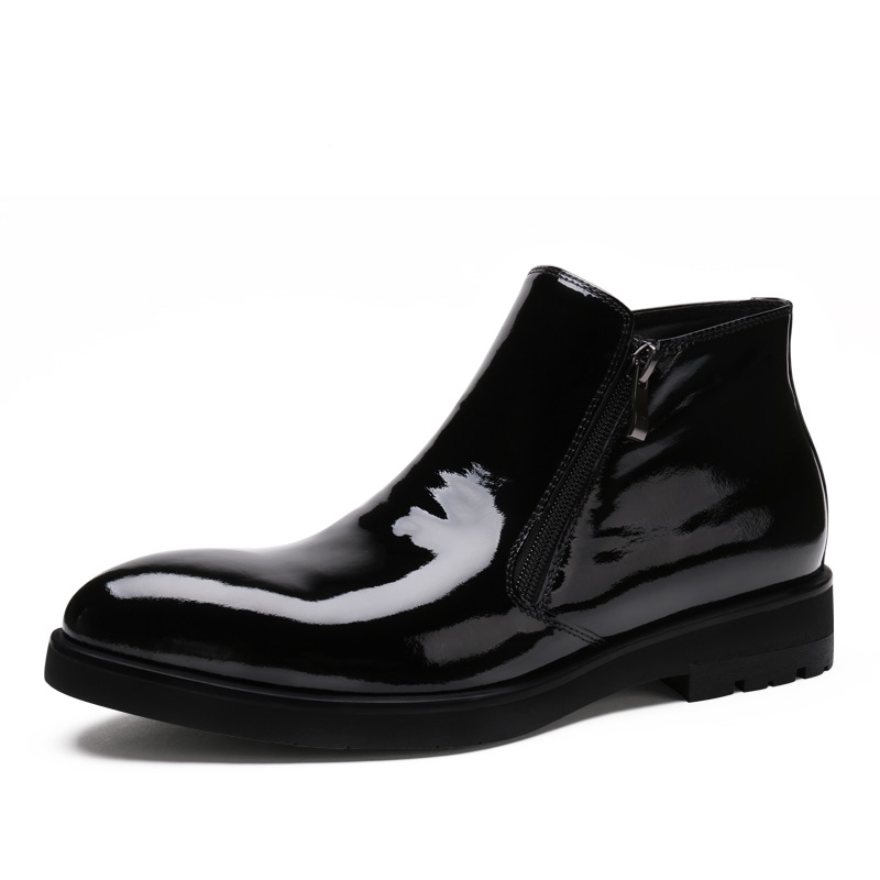 Fashion zipper black mens ankle boots business shoes patent leather mens boots office mens dress</font