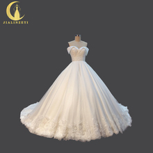 JIALINZEYI Sexy Boat Neck Lace Sexy Lace Up A-line Fashion Court Train Bridal Wedding Dresses Wedding Gown 2017