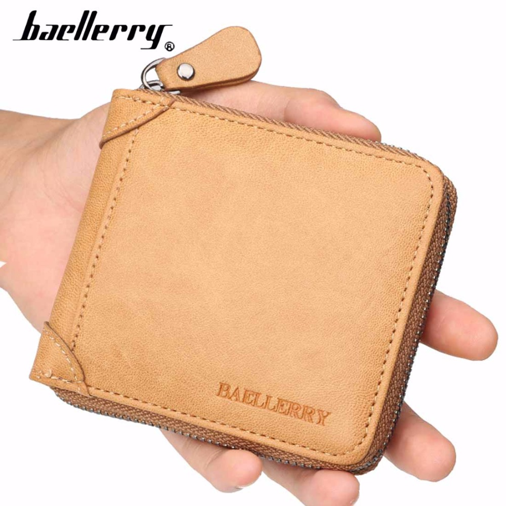 2018 Baellerry Leather Men Wallets New Short Design Zipper Card Holder Male Purse Coin Pocket Retro High Quality Men Purse baellerry pu leather men wallets zipper coin pocket sample solid male purse card holder high quality man purse cartera