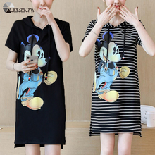 Women Summer Short Dress Cute Cartoon Sleeve Hooded Casual Plus Size Black Loose Party Mickey Mouse Striped S-4XL